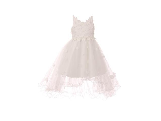 Little girls white 3d floral appliques satin tulle flower girl dress 6