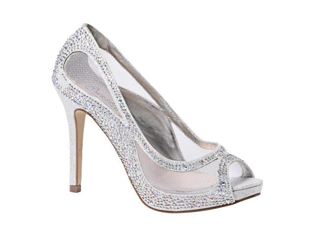 40ad937dc60cc Sweetie's Shoes Silver Sheer Mesh Beaded Kylie Glamour Pumps 8 Womens