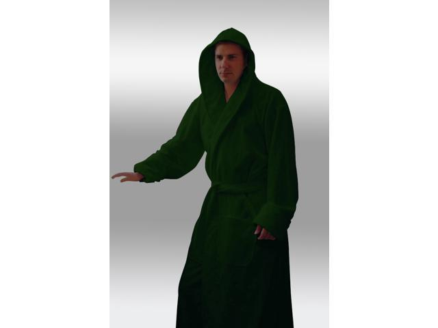 Heavy Hunter Green Hooded Terry Bathrobe - 100% Cotton - Full Length 54  Inches. 3.5lbs Dry a54ca72d4