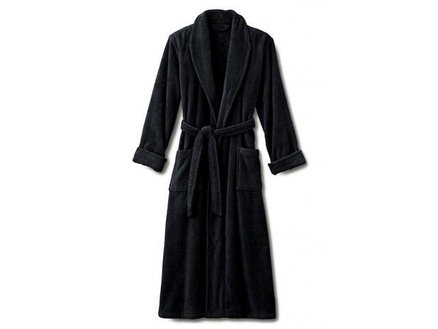 098e4b52b0 Black Terry Velour Spa Bathrobe With Shawl Collar - Full Length 52 Inches  100% Cotton - Newegg.com