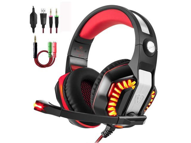 Gaming Headset for PS4 Xbox One, Beexcellent Stereo Over Ear Gaming  Headphones Noise Cancelling Wired PC Headset with Mic/Bass Surround/Volume