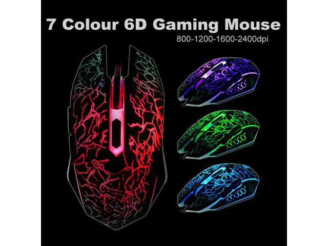NEW 2400DPI Optical Adjustable 6D Buttons Wired Gaming Game Mice For Laptop PC