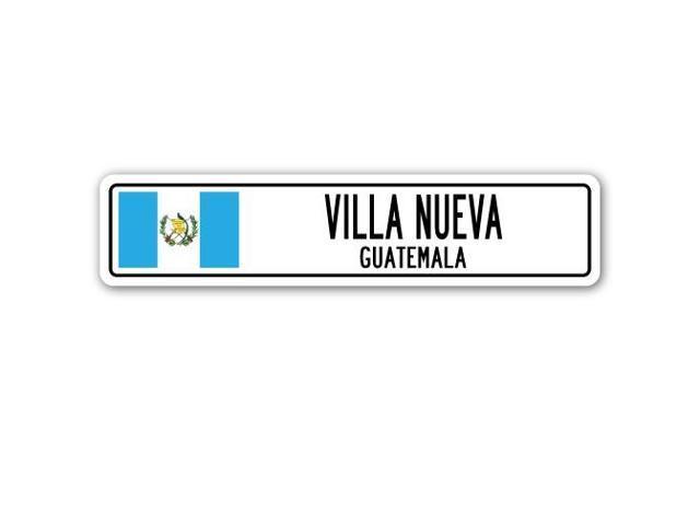 villa nueva  guatemala street sign guatemalan flag city