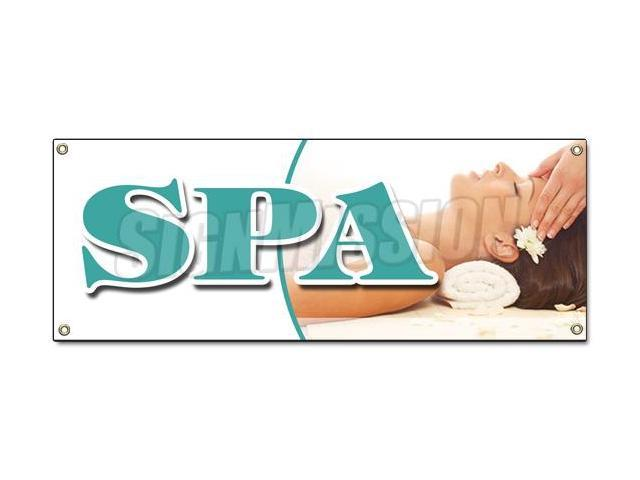 Spa Banner Sign Deep Tissue Swedish Aromatherapy Facial Reflexology Newegg Com