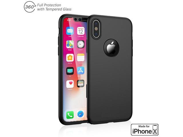 newest 071dc 98b6e Indigi 360° Full Body Protective Case Cover (Black) + Tempered Glass For  Apple iPhone X - Newegg.ca