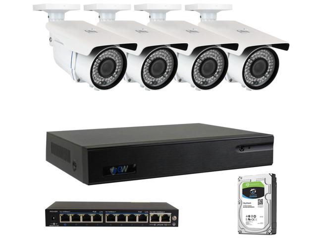 Save $300 on GW 8 Channel H.265 4K NVR 5MP 1920P 2.8~12mm Lens, Video Plug & Play IP Security System - 4 x POE 5MP Weatherproof IP Cameras