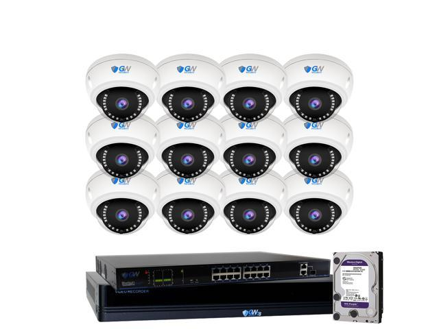 GW 4K 8 Megapixel Microphone PoE IP Security System, 16 Channel 4K H 265  NVR with 12 x 4K 8MP 2160P Built-in Microphone IP Dome Camera, Day/Night