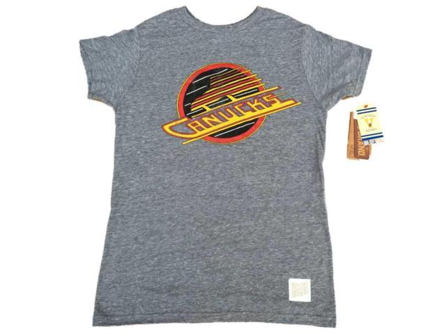 Vancouver Canucks Retro Brand Gray Tri-Blend Distressed Logo T-Shirt (2XL) 14de531d8