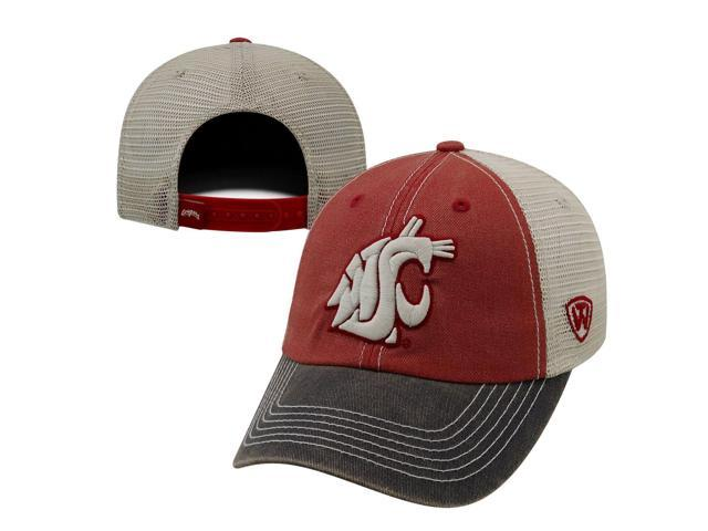 promo code 377f0 f5ad8 Washington State Cougars Faded Red Gray Offroad Adjustable Snapback Mesh  Hat Cap