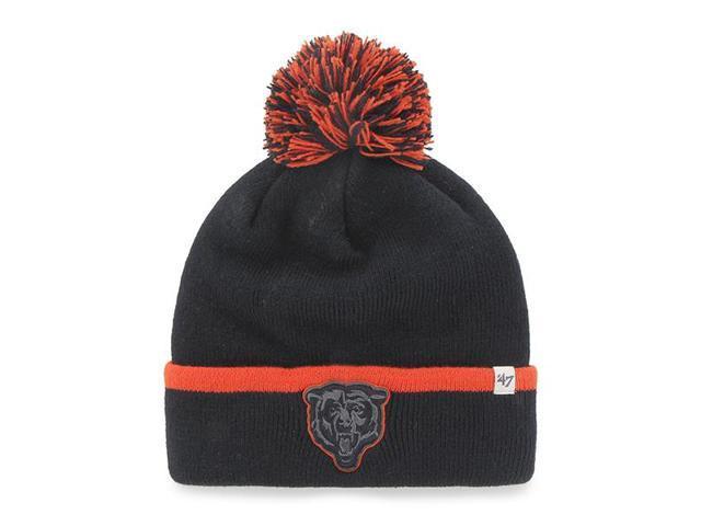 02112ef0a Chicago Bears 47 Brand Navy Orange Baraka Knit Cuffed Poofball Beanie Hat  Cap