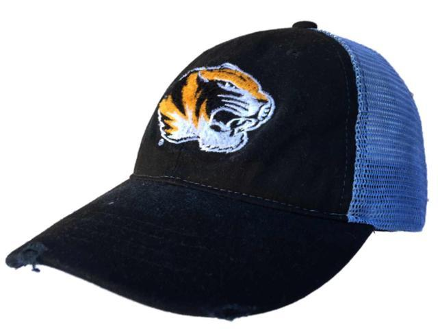reputable site 5d3aa 088ed Missouri Tigers Retro Brand Black Worn Mesh Adjustable Snapback Hat Cap