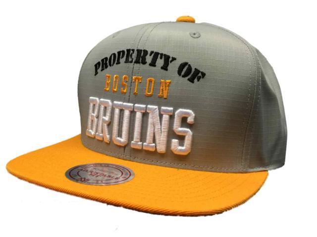 wholesale dealer 7fe43 819ac ... australia boston bruins mitchell ness nhl 100 nylon flat bill  adjustable strap hat cap 73c8a f2b7e