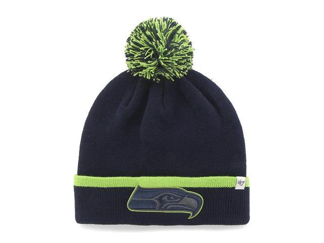 fa208d48a42 Seattle Seahawks 47 Brand Navy Green Baraka Knit Cuffed Poofball Beanie Hat  Cap
