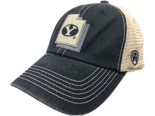 BYU Cougars TOW Navy United Mesh Adjustable Snapback Slouch Hat Cap 4bc50a02a37