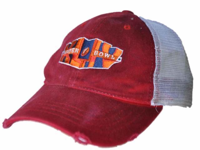 34756f2cc13 NFL Super Bowl XLIV Reebok Red Worn Vintage Mesh Adj Snapback Hat Cap