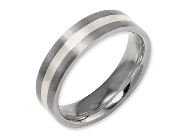 Best Birthday Gift Titanium Flat 8mm Sterling Silver Inlay Brushed Band