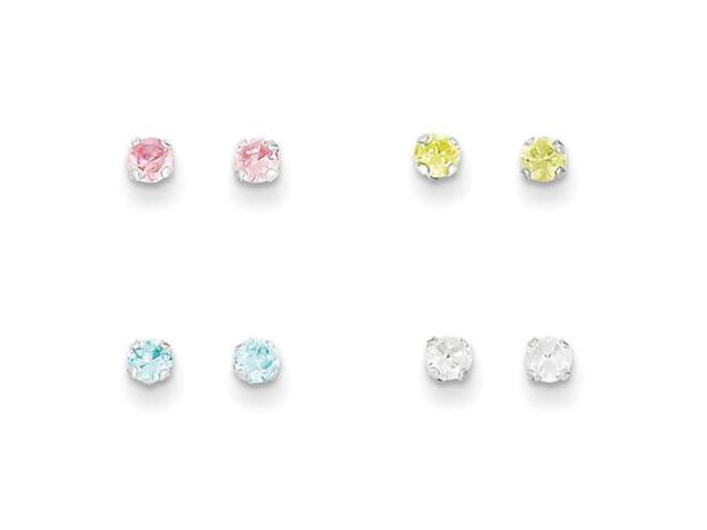 sterling silver stellux crystal post 4pc set earrings