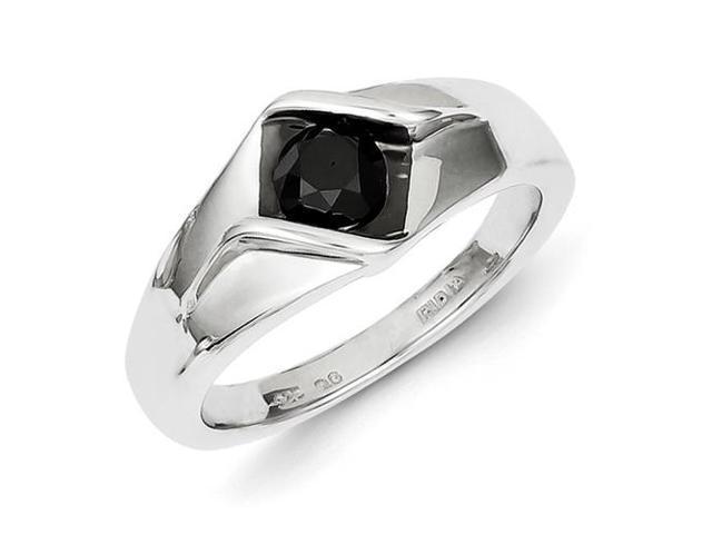 Sterling Silver Black Diamond Mens Ring Size 11 Newegg Com