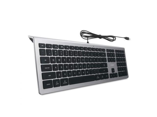 Comfortable Quiet Wired USB Full Size Corded Keyboard and Mouse for PC//MAC Black
