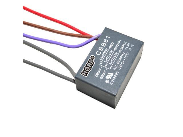 2-Pack Motor Capacitor 3.5uf+5uf+6uf 5-Wire CBB61 for Hampton Bay Ceiling Fan