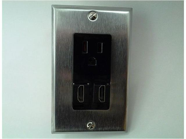 CERTICABLE AC 15A 110V POWER OUTLET BLACK + 2x HDMI 1.4v STAINLESS ...