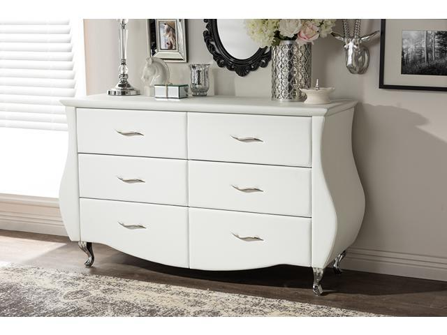 . Baxton Studio Enzo Modern and Contemporary White Faux Leather 6 Drawer  Dresser   Newegg com