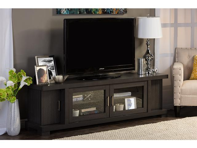 Baxton Studio Viveka 70 Inch Dark Brown Wood TV Cabinet With 2 Glass Doors  And