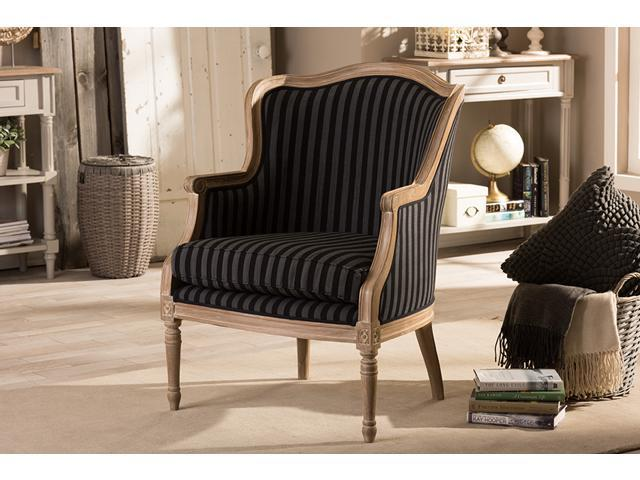 Grey And White Striped Accent Chair: Baxton Studio Charlemagne Traditional French Black And