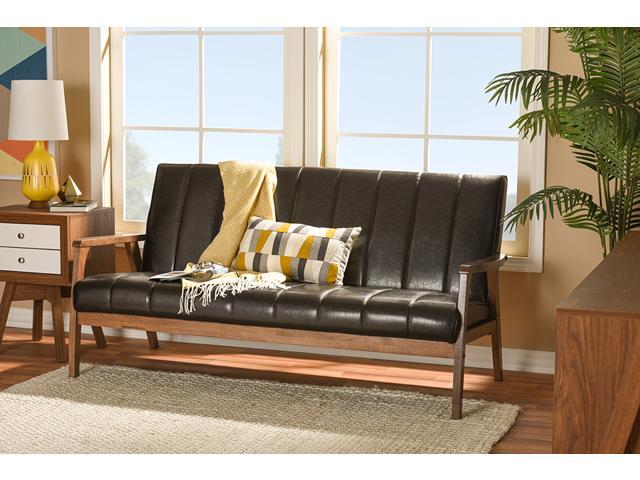 Baxton Studio Nikko Mid-century Modern Scandinavian Style Dark Brown Faux  Leather Wooden 3-Seater Sofa - Newegg.com