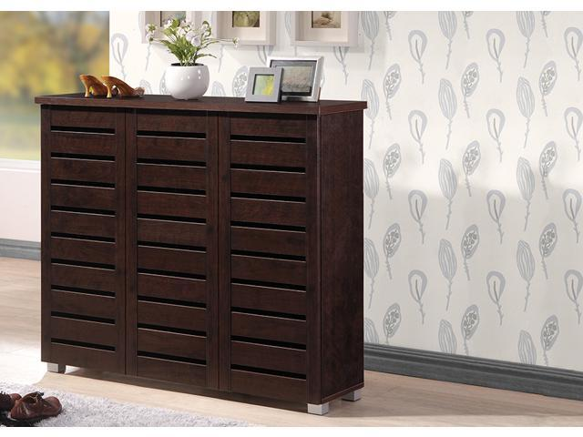Baxton Studio Adalwin Modern And Contemporary 3 Door Dark Brown Wooden Entryway Shoes Storage Cabinet