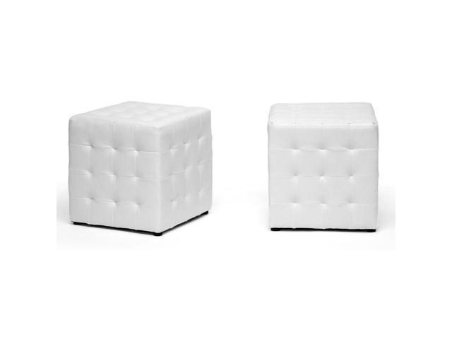 Groovy Siskal White Modern Cube Ottoman Newegg Com Creativecarmelina Interior Chair Design Creativecarmelinacom