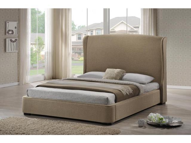 Baxton Studio Sheila Tan Linen Modern Bed With Upholstered Headboard King Size Newegg Com