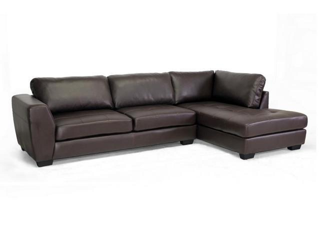Baxton Studio Orland Brown Leather Modern Sectional Sofa Set With