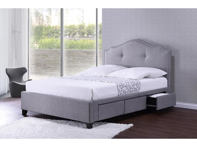 Baxton Studio Armeena Grey Linen Modern Storage Bed With Upholstered  Headboard   Queen Size