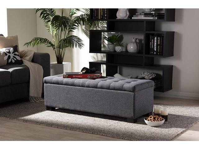 Astonishing Baxton Studio Roanoke Modern And Contemporary Dark Grey Fabric Upholstered Grid Tufting Storage Ottoman Bench Cjindustries Chair Design For Home Cjindustriesco