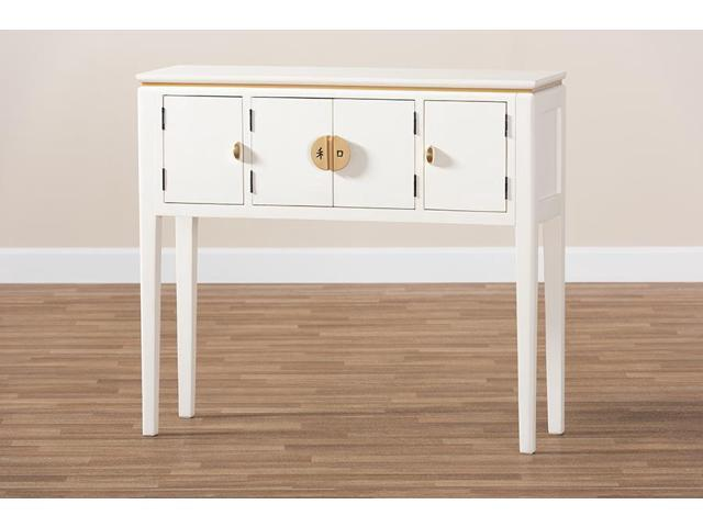 Awe Inspiring Baxton Studio Aiko Classic And Traditional Japanese Inspired Off White Finished 4 Door Wood Console Table Newegg Com Spiritservingveterans Wood Chair Design Ideas Spiritservingveteransorg