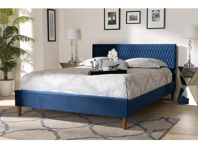 low priced 249d6 be549 Baxton Studio Frida Glam and Luxe Royal Blue Velvet Fabric Upholstered  Queen Size Bed - Newegg.com
