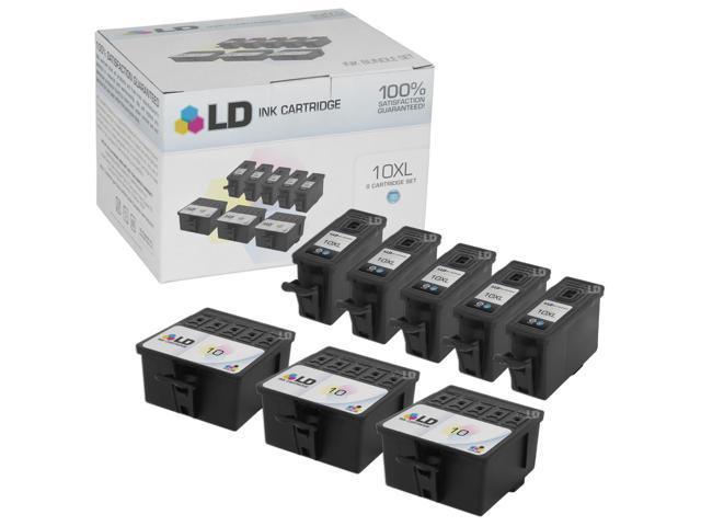 LD Compatible Kodak 10XL / 10 Set of 8 Ink Cartridges: 5 Black 8237216 & 3  Color 8946501 for EasyShare 5100, 5300, 5500, ESP 3, 3250, 5, 5210, ESP ,