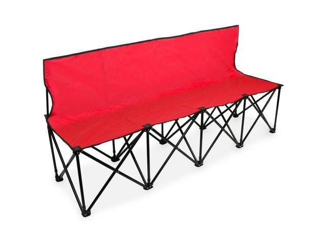 Incredible Brybelly Scoa 701 6 Ft Portable Folding 4 Seat Bench With Back Red Newegg Com Dailytribune Chair Design For Home Dailytribuneorg