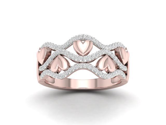 2d555496f9c De Couer 1/5Ct TDW Diamond 10k Rose Gold Ribbon and Heart Fashion Ring -  Newegg.com