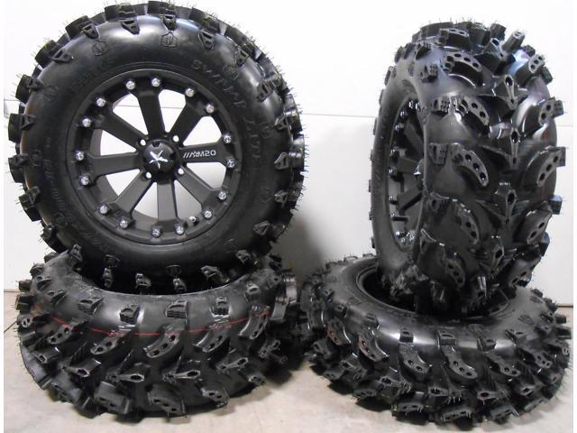 Msa Black Kore 14 Utv Wheels 27 Swamp Lite Tires Polaris Rzr 1000 Xp