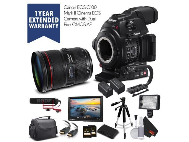 Canon EOS C100 Mark II (Intl Model) & 24-70mm f/2 8L II USM Lens with 2  Memory Cards, 2 Extra Batteries, Mic, Case, Led Light, External Monitor,
