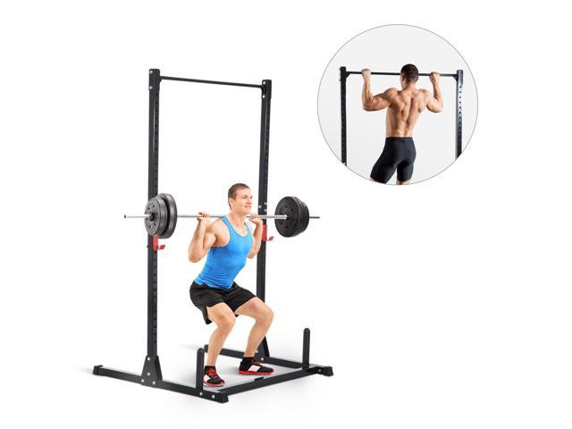 Soozier Adjustable Power Squat Rack Strength Training Fitness Pull Up  Weight Home Gym Steel Black - Newegg ca