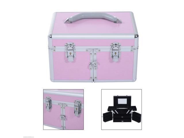 4c36b67c4909 Soozier Pro Makeup Train Case Cosmetic Jewelry Organizer Box w/ Mirror Lock  Pink - Newegg.ca