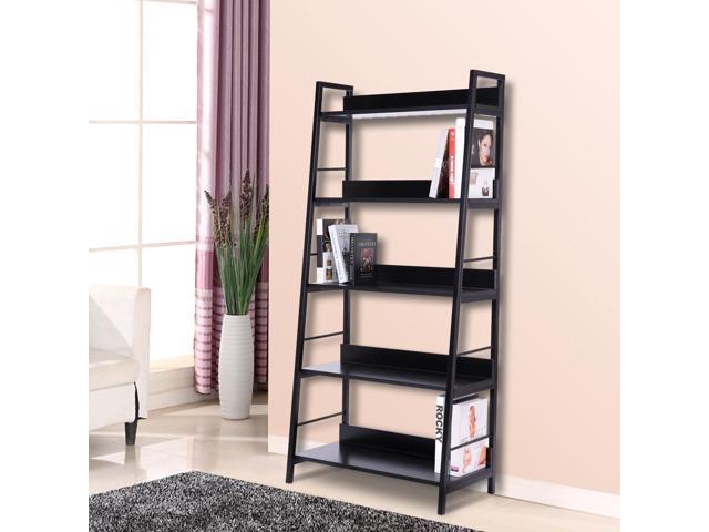 HOMCOM Wood Bookcase 5 Tier Wide Bookshelf Shelving Storage Furniture Home Black