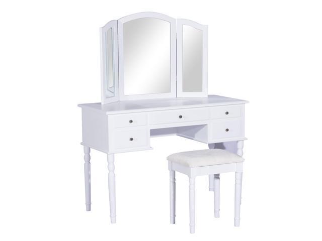 Homcom Elegant Dressing Table Vanity With Mirror Stool 5 Drawers