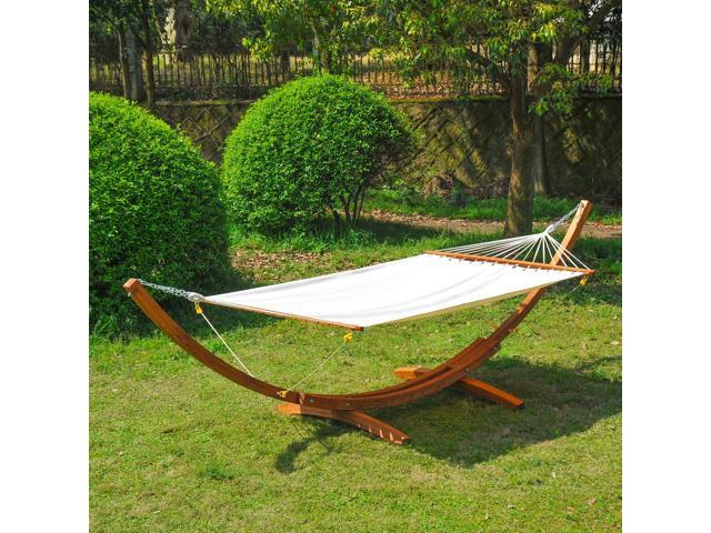 Outsunny 2 Person Swing Hammock With Stand Patio Garden Bed Fsc Certified Larch Wood Neweggca