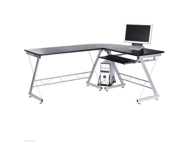 Homcom A2 0018 L Shaped Corner Computer Desk Laptop Desktop Pc Table Workstation Stand