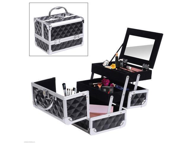 HomCom 3 Tier Diamond Texture Makeup Train Case Cosmetic Organizer with Mirror, Black