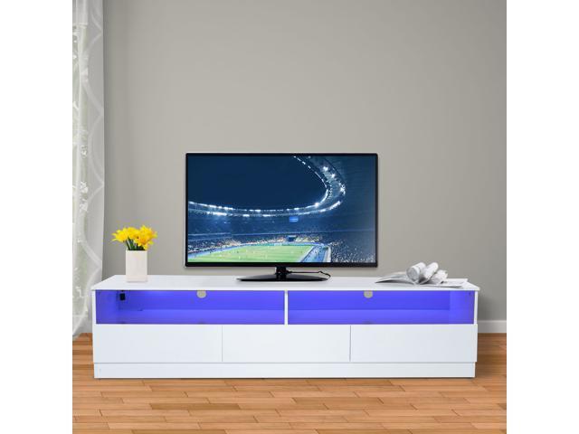 Homcom 71 High Gloss Led Tv Cabinet Stand Home Entertainment Center Modern Storage Unit White
